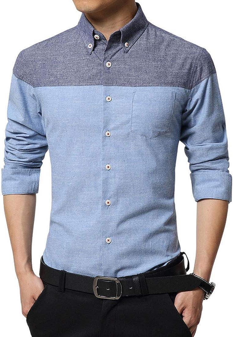 XTX Men Long Sleeve Classic Version Cotton Plus-Size Moisture Wicking Color Block Shirt