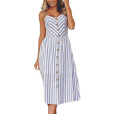3f9bbc2dc6d Cinnamou Mode Femmes Sexy Stripe Boutons Off épaule Occasionnel Robe sans  Manches Princesse Robe  Amazon.fr  Vêtements et accessoires