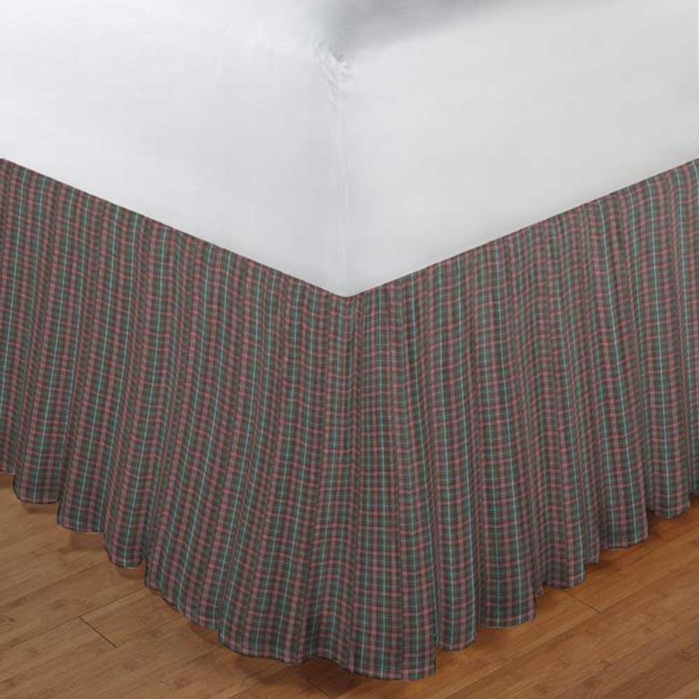 ベッドスカートセージと赤格子柄 B007OLIFW8