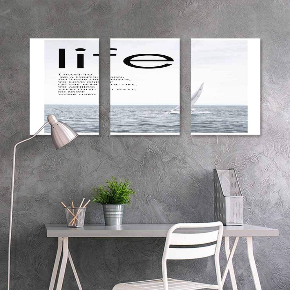 BDDLS Art Original Oil Painting Sticker,Postcard Office Art Decoration 3 Panels,24x35inchx3pcs Seaside Pattern (4)