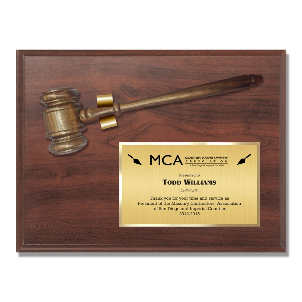 Gavel Plaque Judge Court Attorney Law Lawyer Gift Cherry Award - 9'' x 12''