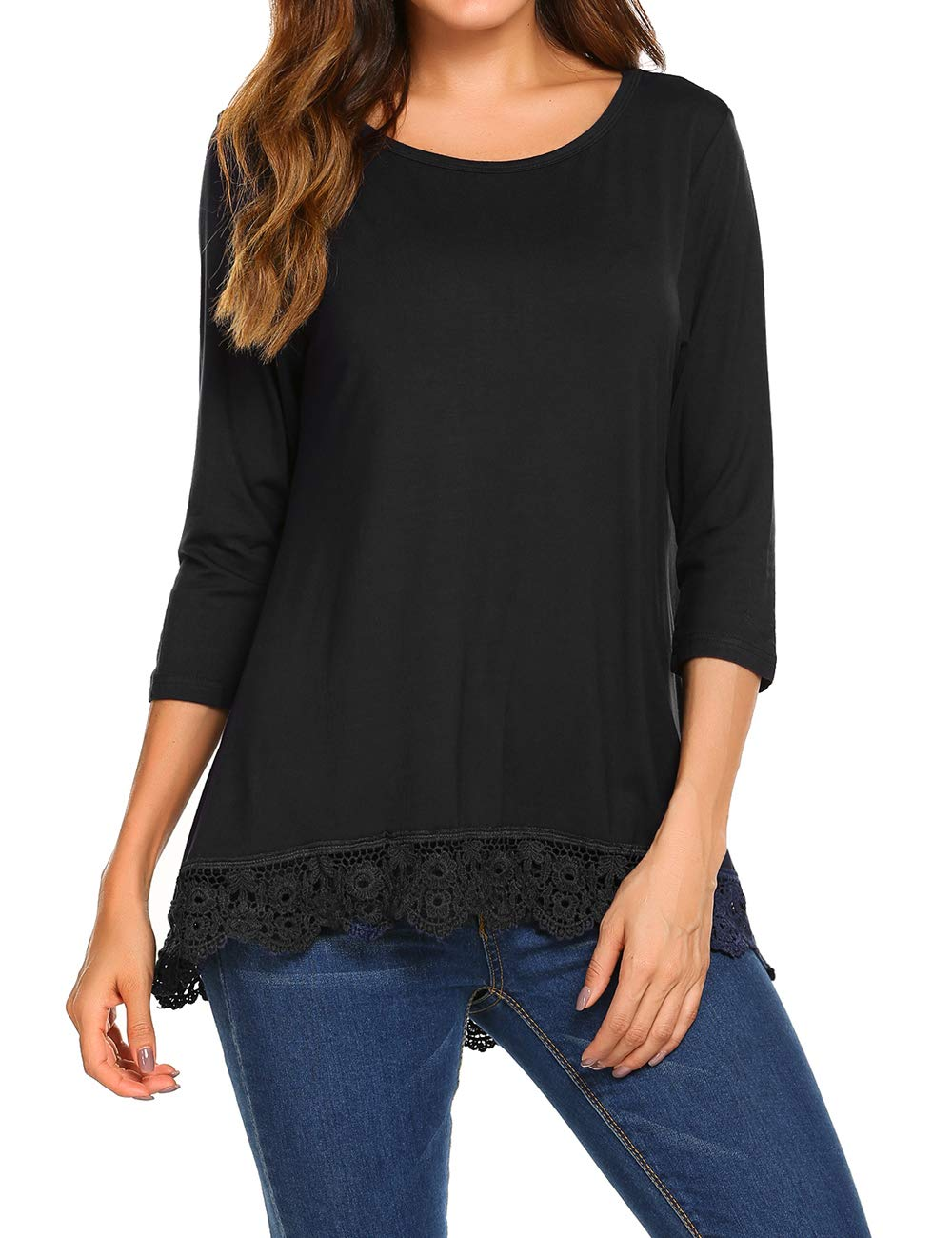Women's Loose Casual Half Sleeve Jersey Tunic Blouse Top Tee Black,S