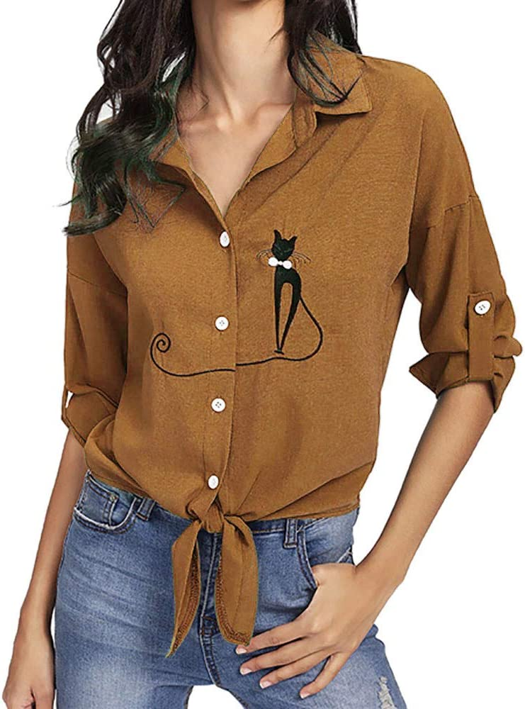 Yesmile Mujer Camisetas❤️Las Mujeres Camisa Camisa de Dobladillo ...