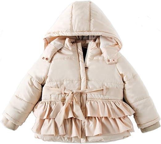 Girls Winter Long Parka Butterfly Coat Puffer Jacket Padded Fur Hood Warm Adorable Overcoat