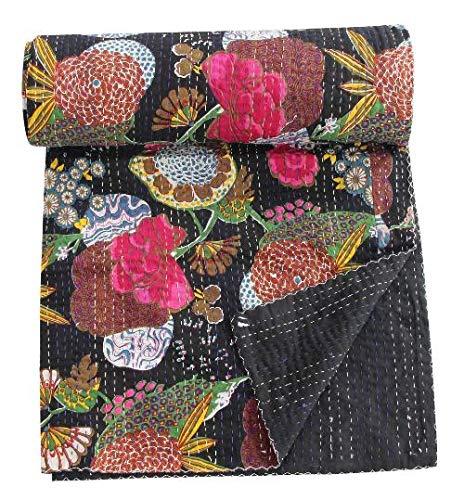 STALLION COTTON CLOTHING Pineapple Print Kantha Quilt Gudri Vintage Handmade Kantha Indian Throw Bedcover Bedspread Kantha Quilts