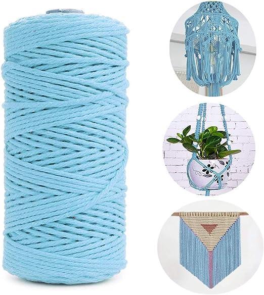 TOKERD 200m Cordel de Macramé Azul 3mm Cordón de Algodón Natural Mano Craft Cuerda Hilo Macramé para Manualidades Envolver Regalo Navidad Colgar Fotos Costura: Amazon.es: Hogar