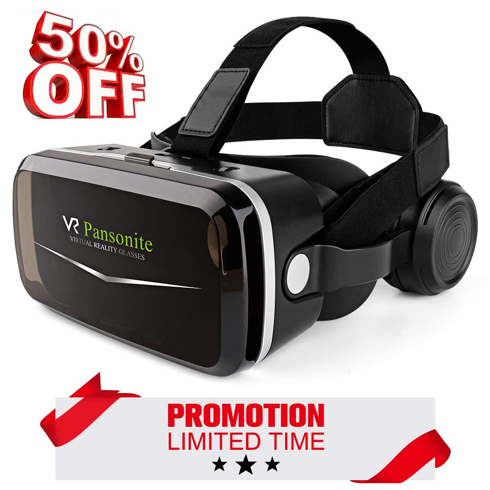 [2018 Upgrade Version] Pansonite VR Headset with Eye Protection Mechanisms, 3D Virtual Reality Goggles for Movies & Video Games, Light Weight, Compatible with Smartphones Within 4.7-6.0 Inch by Pansonite