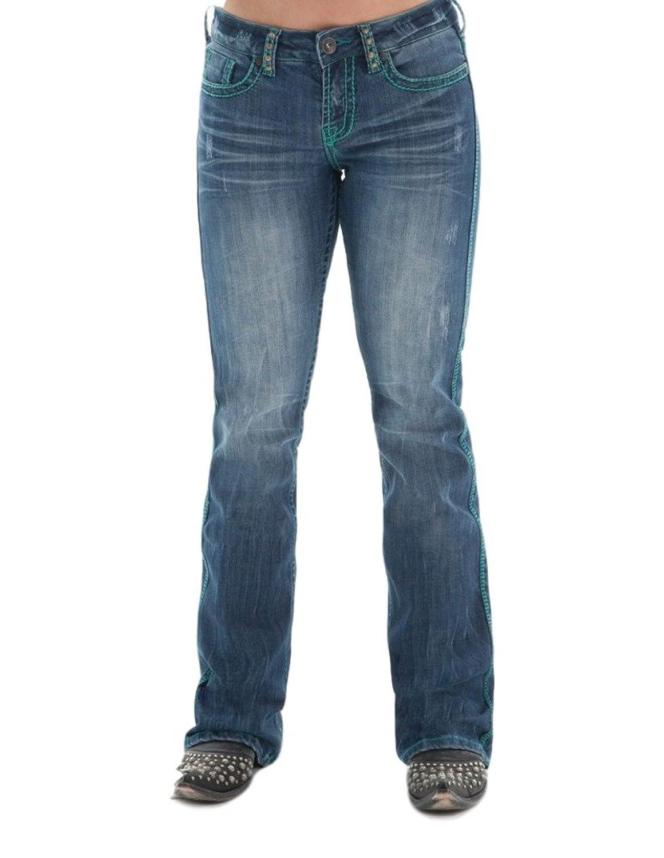 Cowgirl Tuff Western Denim Jeans Women Turq Spirit 32 Reg Medium Wash JTURSP