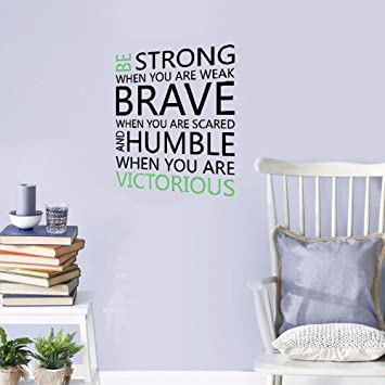 yuimn DIY Removable Vinyl Decal Mural Be Strong Brave Humble Motivational Quote Wall Sticker DIY Quotes