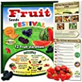 Fruit Seeds Festival! 12 Heirloom, Non-GMO Collection Kit. Cantaloupe, Honeydew, Watermelon, Strawberry, Goji Berry, Grape, Mulberry and Much More. 100% Organic Growing Guide Included.