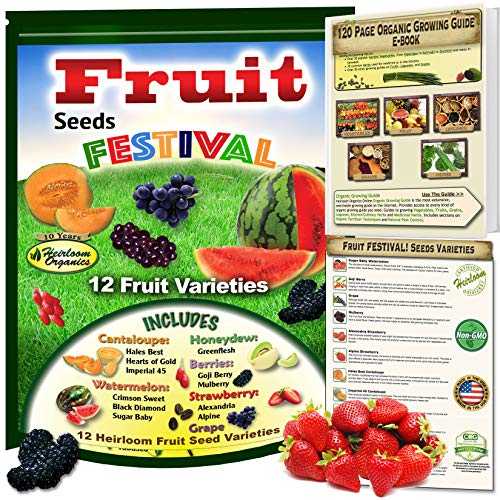 (Fruit Seeds Festival! 12 Heirloom, Non-GMO Collection Kit. Cantaloupe, Honeydew, Watermelon, Strawberry, Goji Berry, Grape, Mulberry and Much More. 100% Organic Growing Guide)