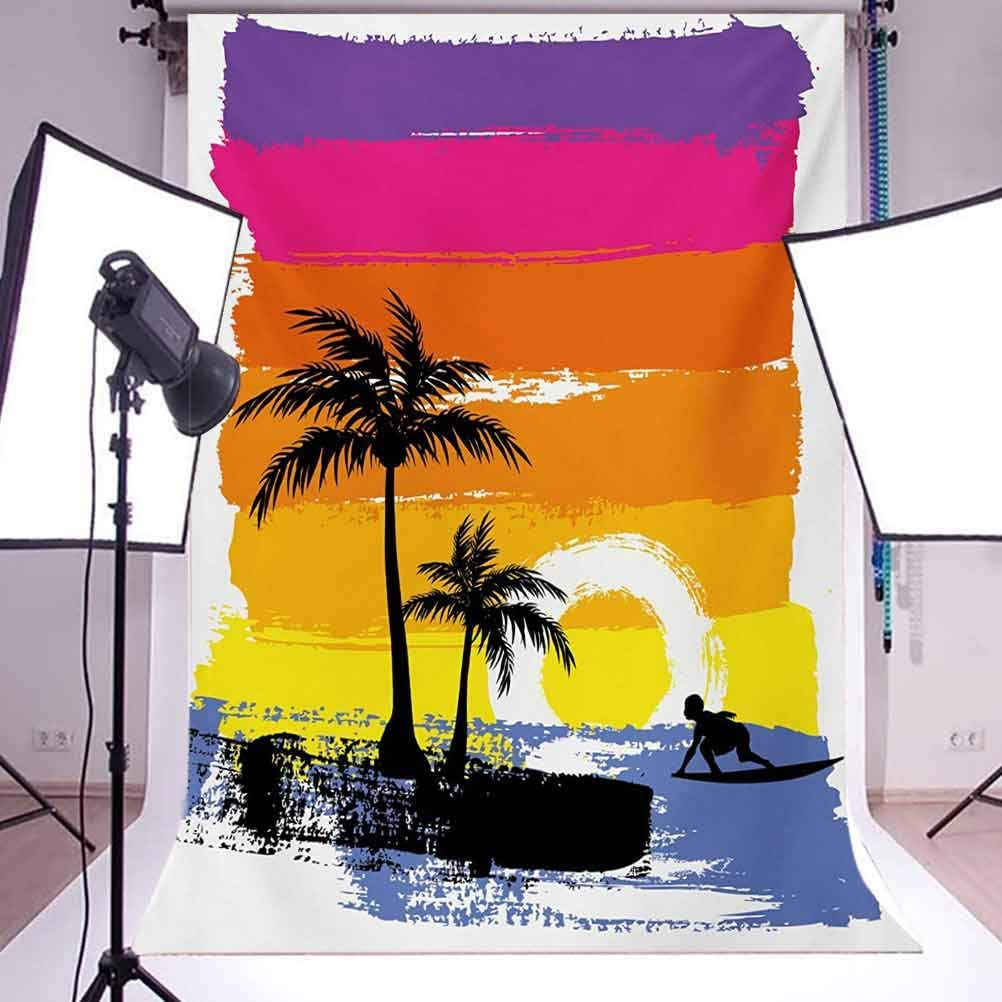 Ride The Wave 10x12 FT Photography Backdrop Exotic Beach with Silhouette of Palm Trees and Surfer Ocean Heaven Image Background for Baby Birthday Party Wedding Vinyl Studio Props Photography