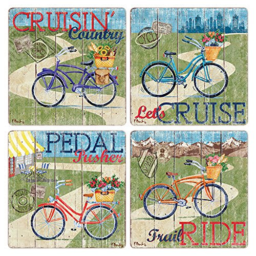 (CoasterStone Country Cruisers Absorbent Coasters (Set of 4), 4-1/4