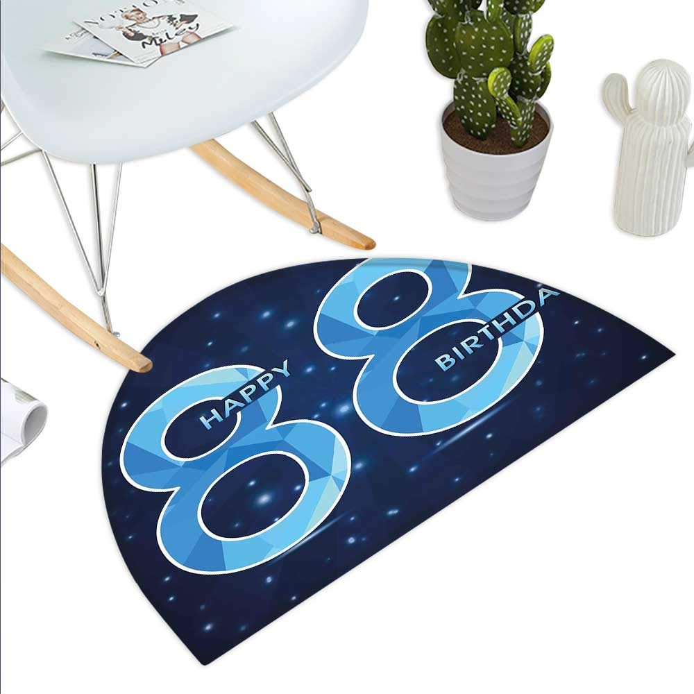 color03 H 35.4  xD 53.1  90s Semicircle Doormat colorful Mosaic Pattern with Geometric Shapes in Memphis Style Artistic Doodle Print Halfmoon doormats H 27.5  xD 41.3  bluee Green