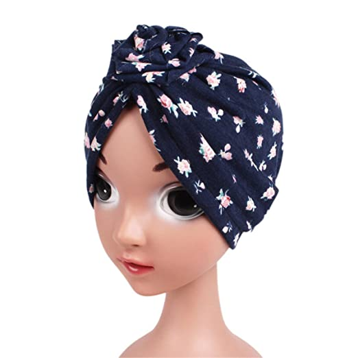 Qhome Girls Flower Turban Hat Kids Vintage Floral Cotton Beanie Headband Children Caps Baby Bandana
