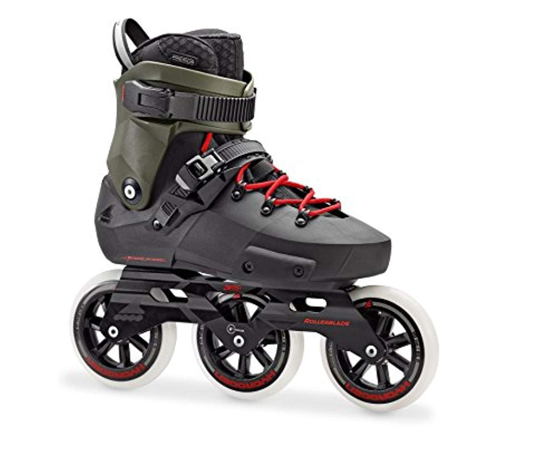 Rollerblade Twister Edge 110 3WD Skates Black/Army Green 28 & Headband Bundle
