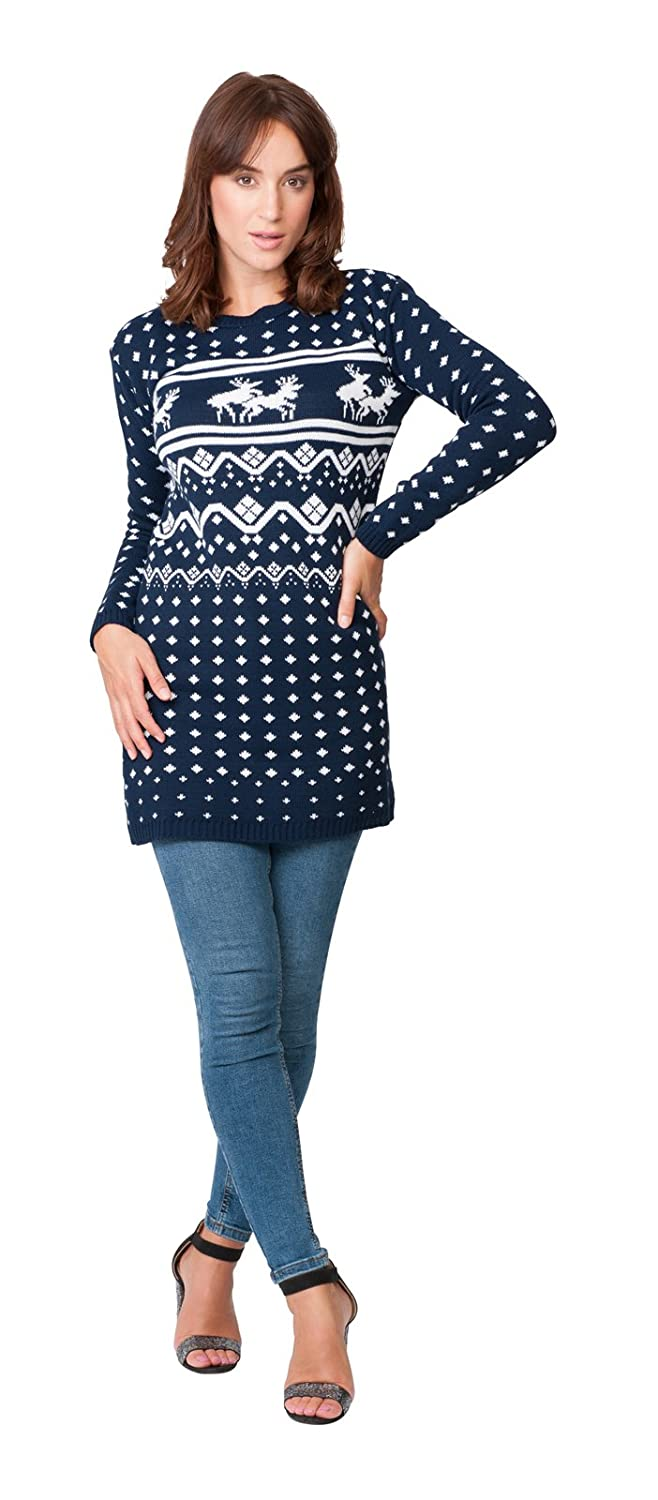 d42b7b09176 New Camp Ltd Ladies Womens Novelty Christmas Xmas Knitted Tunic Retro Reindeer  Fairisle Dress Jumper Sweater Christmas Xmas 2017 Exclusively Sizes 6 To 26
