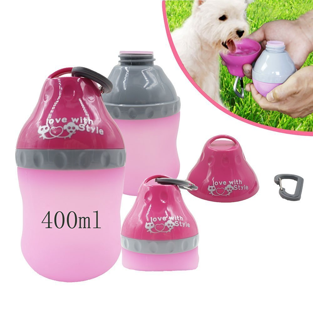 Portable Silicone Folding Pets Water Feeding Bottles Travel Outdoor Collapsingr Bowl Kettle with Carabiner Clip for Small Animals Dogs Cats Puppy Kitten (Pink)