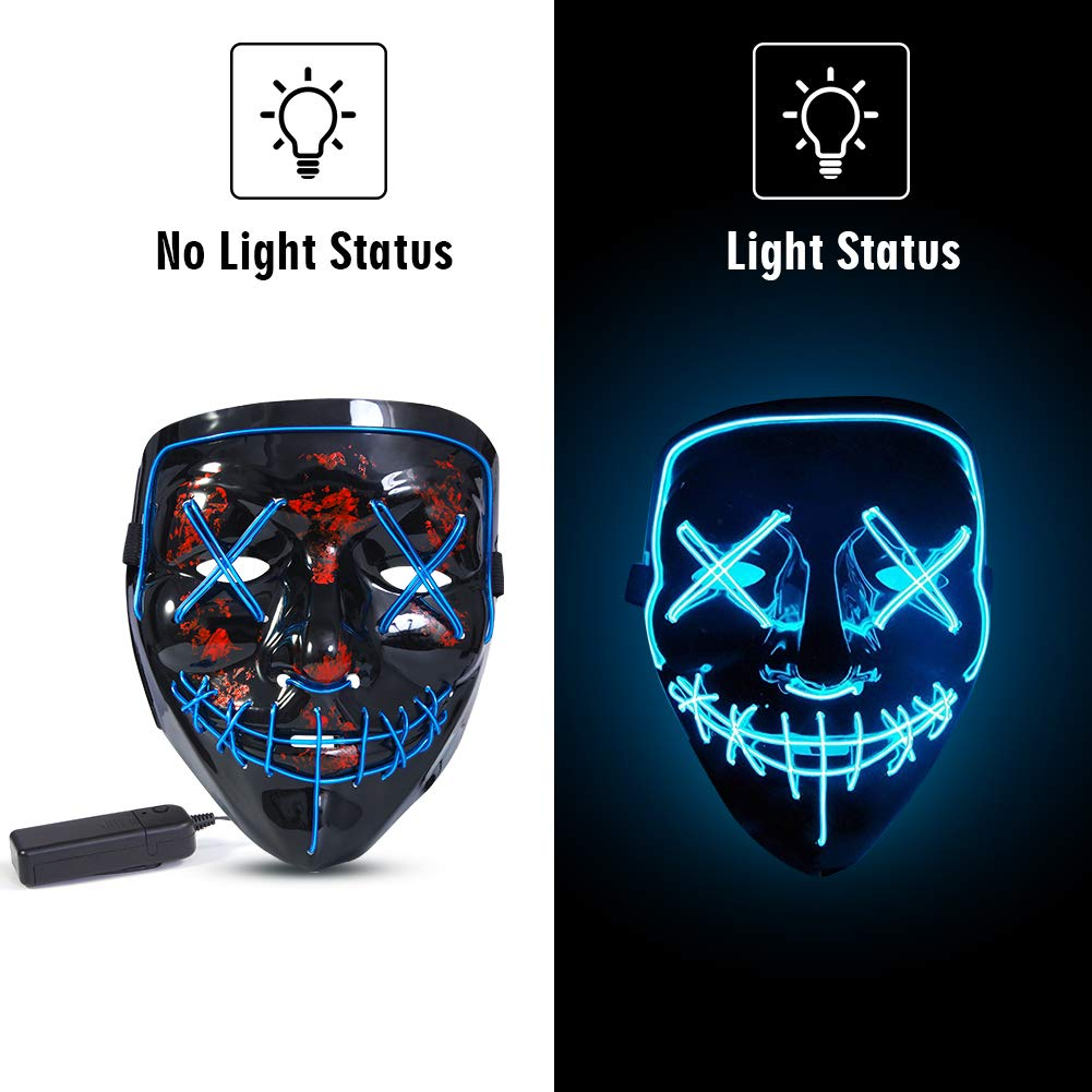 Light Up Scary Masks for Halloween Costume Festival Cosplay ThinkMax LED Halloween Mask