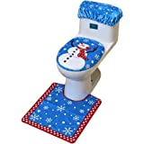 Cotill Christmas Decorations Snowman Santa Toilet Seat Cover and Rug Set for Bathroom - Blue