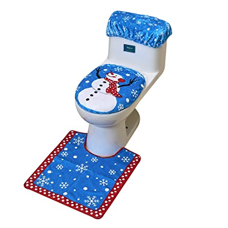 Toilet Seat Covers Amazon.Cotill Christmas Decorations Snowman Santa Toilet Seat Cover And Rug Set For Bathroom Blue