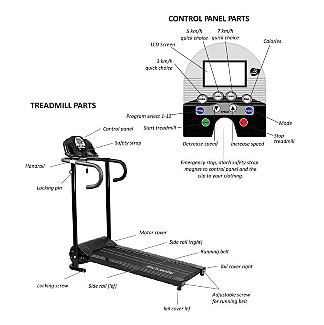Fitnessclub 500w Folding Electric Motorized Treadmill Jog Start Stop Wiring Diagram Portable Running Gym Fitness Machine Black Sports Outdoors