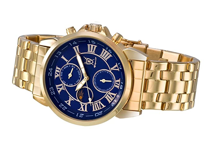 Amazon.com: Konigswerk Mens Gold Tone Bracelet Watch Blue Roman Numeral Dial Day Date Sun Moon Display AQ101091G-1: Watches