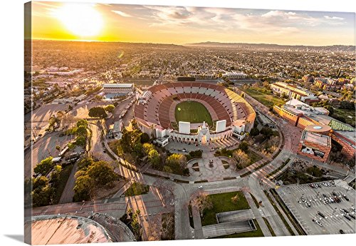 Copterpilot Photography Premium Thick-Wrap Canvas Wall Art Print entitled Aerial View of Los Angeles Memorial Coliseum, California 36