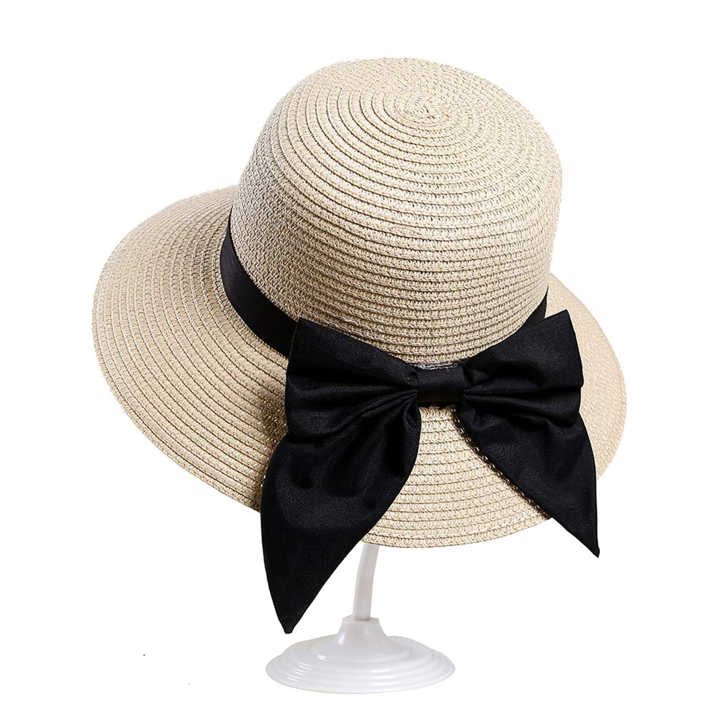 WE-WIN Mujeres Vintage Plegable Ancha Brim Sombrero de Paja Verano Sun Beach Hat
