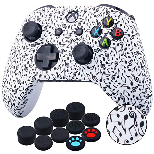 YoRHa Printing Rubber Silicone Cover Skin Case for Xbox One S/X Controller x 1(Notes) with Thumb Grips x 10