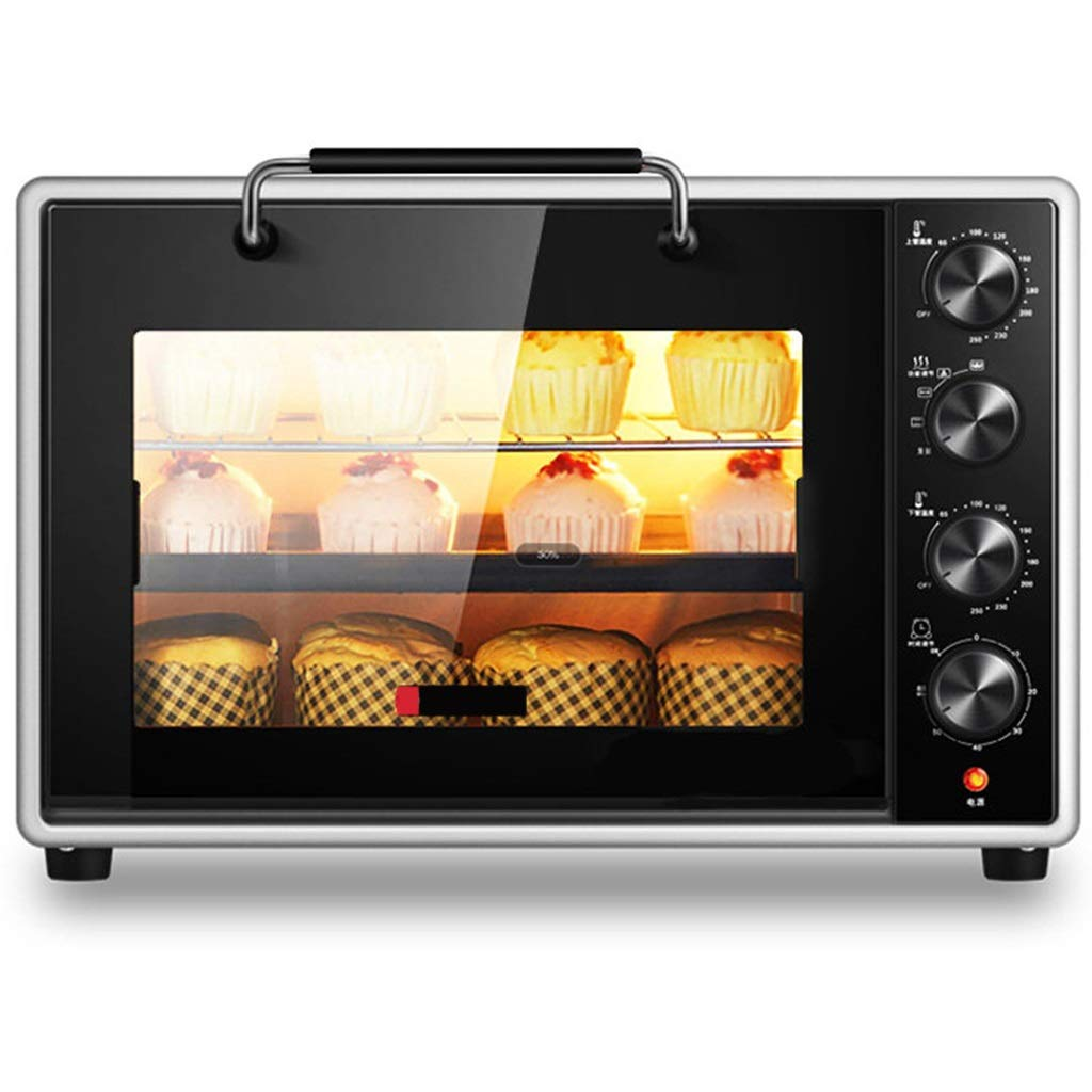 Large Toaster Oven 4 Layers 40QT, Double-layered Glass, Thaw, Ferment, Bake Broil Barbecue Bread, Rotating Forks, Grills, Baking Trays, Slag Trays (color : BLACK)
