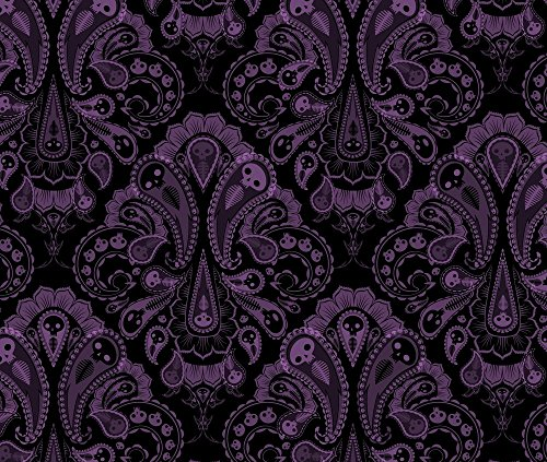 Halloween Fabric Ghost Paisley - Purple & Black by Thecalvarium Printed on Eco Canvas Fabric by the Yard by (45 Grave Halloween)