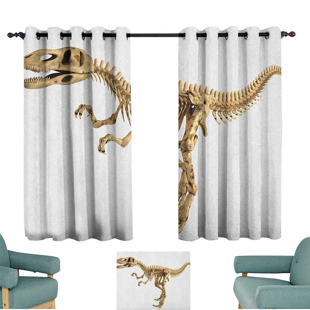 Dinosaur,Extra Wide Curtains Fossil Dino Skeleton Bones Realistic Image Dangerous Dead Extinct Reptile 42''X63'' Sliding Door Curtains Grommet Top