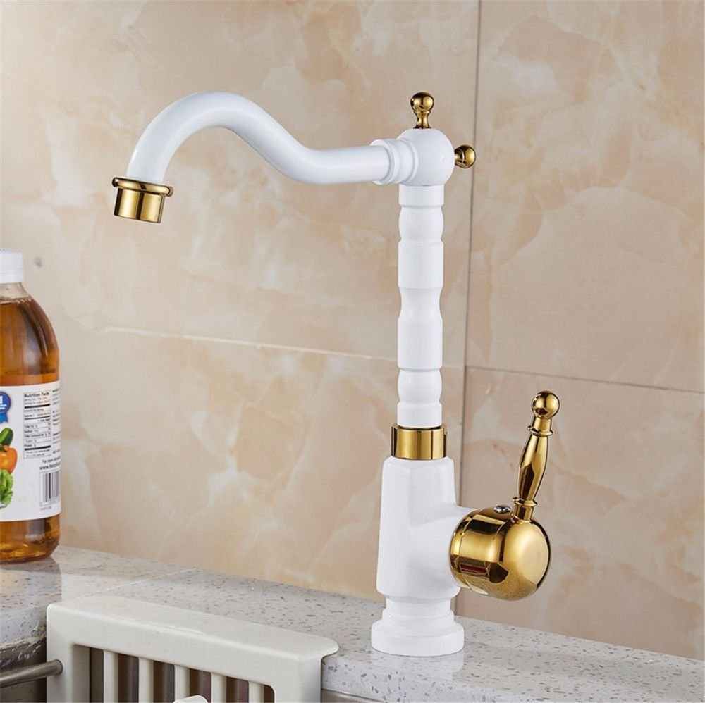 LHbox Tap Sprayer Spout Kitchen Faucet Professional European All-Copper Enamel Kitchen Sink Cold Water taps to Rotate Volume from pros