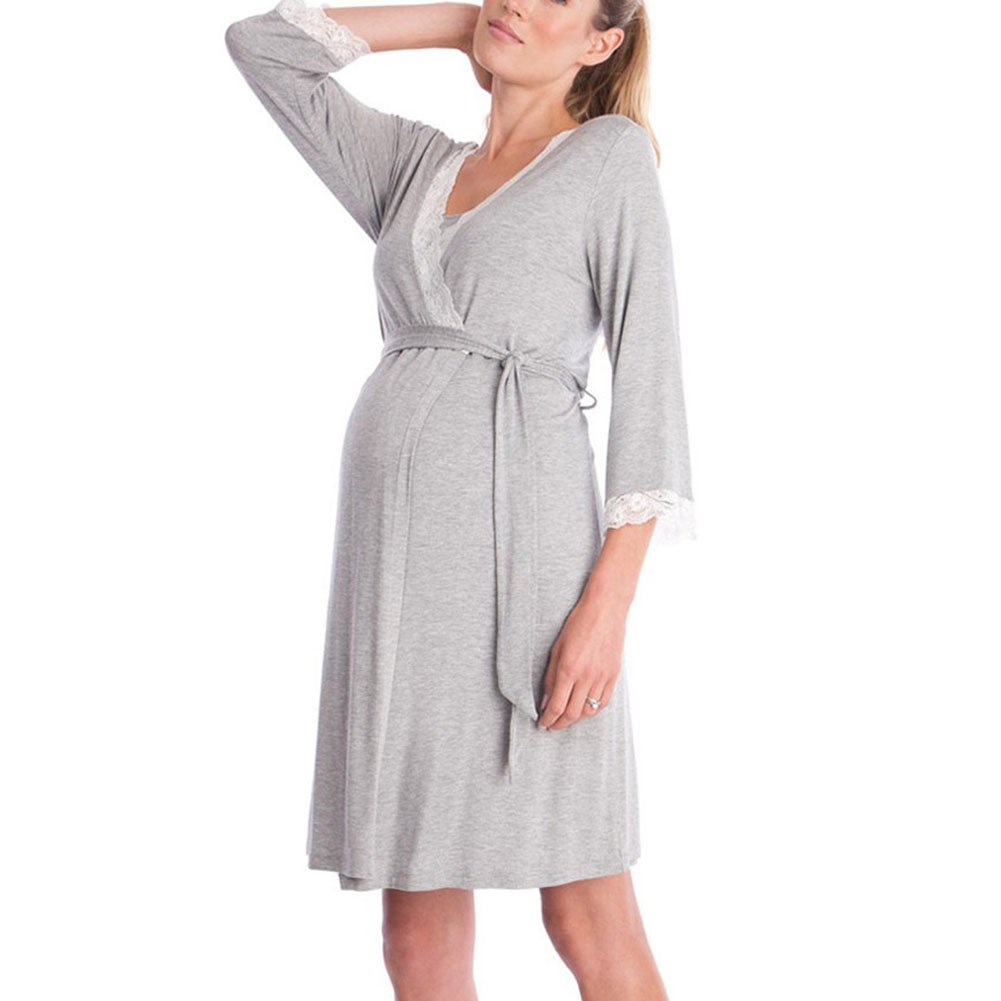 Women Lace V-Neck Maternity Robe Sleepwear Nursing Pregnant Breastfeeding 3/4 Sleeve Nightwear (S, Grey)