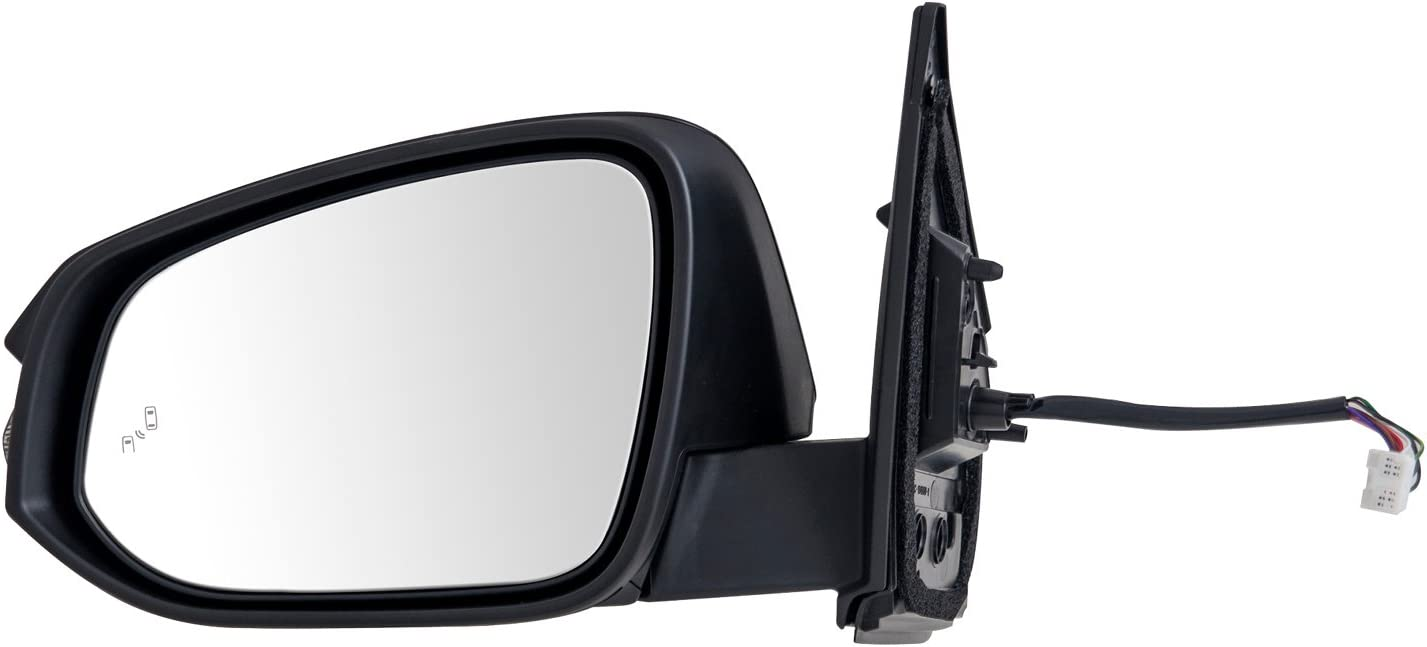 Fit System Driver Side Mirror for Toyota RAV4 Textured Black w//PTM Cover Foldaway w//Blind spot Detection Heated Power w//Turn Signal