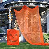 UIYTR Flying Ghost Halloween Props Hanging Spooky Ghost Creepy Curtain Haunted House Prop Party Decorations for Yard Outdoor Indoor Party Bar-Orange