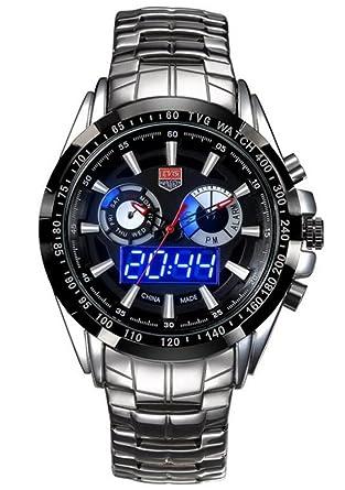cf3c1006111 Mens Watches Top Brand Luxury TVG Men Military Sport Luminous Wristwatch  Clock Male Full Steel Quartz