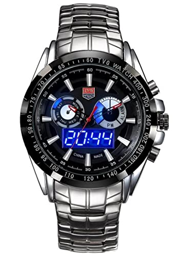 bc6a3ab44 Mens Watches Top Brand Luxury TVG Men Military Sport Luminous Wristwatch  Clock Male Full Steel Quartz Watch Relogio Masculino (Black)  TOMORO   Amazon.co.uk  ...