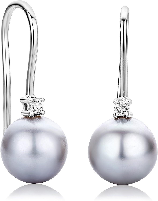 Orovi pendientes de señora que cuelgan Perlas grises 8.5mm de aguadulce 0.06 Ct diamantes en oro blanco de 18k ley 750