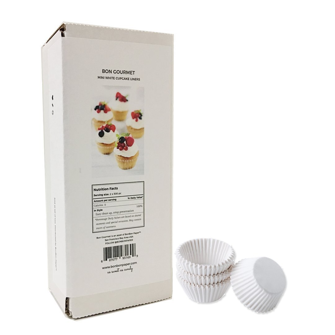 White Fluted Baking Paper Cup - Mini Cupcake Cup Liners - 1000 pc
