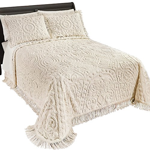 Collections Etc Medallion Modern Cotton Chenille Bedspread with Fringe, Cream, Twin