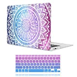iCasso Macbook Air 13 inch Rubber Coated Soft Touch Hard Shell Protective Case Cover For Macbook Air 13 Inch Model A1369/A1466 With Keyboard Cover (Blue&Purple Medallion)
