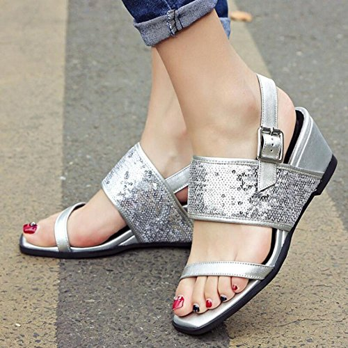 Cuero Cabeza Mujer Sandalias Cuadrada Genuino Zapatos Cuña La de Joker Lentejuelas Plata Moda qE4AxRCnw