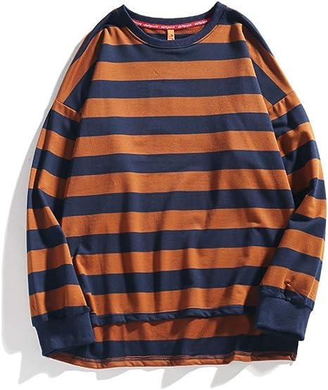 Ever Night Hombre En Suéter Rayado De La Calle Japonesa Rayas Manga Larga Ronda Camisa De Cuello Camisa Suelta Informal Mar Alma: Amazon.es: Deportes y aire libre
