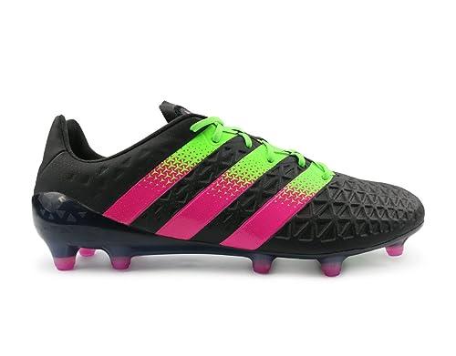 35fb7d6b6 Adidas Men s ACE 16.1 FG AG Black Solar Green Shock Pink Shoes - 9.5 ...