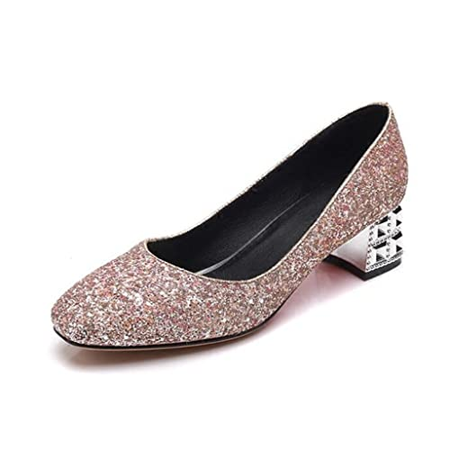 475d24256b Single shoes TPR+ Sequins Square Head Shallow Mouth Female Middle ...
