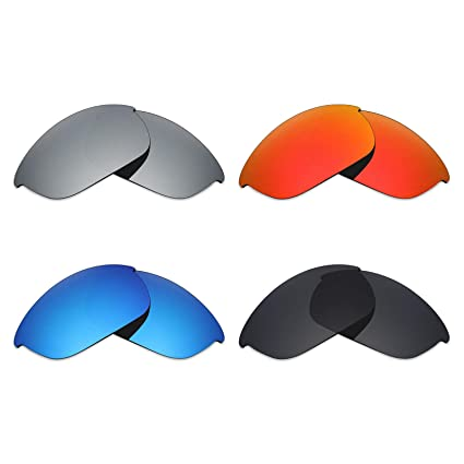 c5009d80e4175 Amazon.com  Mryok 4 Pair Polarized Replacement Lenses for Oakley Half Jacket  2.0 Sunglass - Stealth Black Fire Red Ice Blue Silver Titanium  Sports   ...