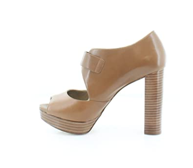 2a67b362287 Michael Kors Womens Eleni Platform Leather Peep Toe Casual