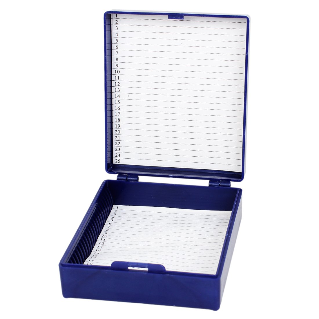 sourcingmap® Royal Blue Rectangle Shape Hold 25 Microslide Slide Microscope Box a14030600ux0102